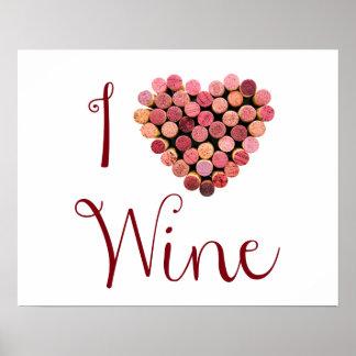 ワインのコルクのハートポスター ポスター