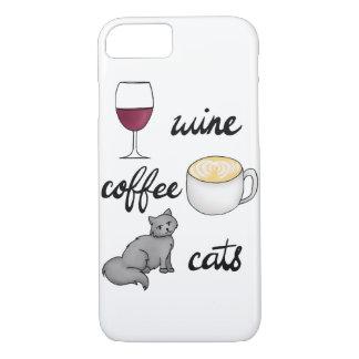 ワインのコーヒー猫の例 iPhone 8/7ケース