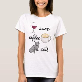 ワインのコーヒー猫のTシャツ Tシャツ