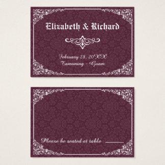 ワインのゴシック様式ビクトリアンなダマスク織の結婚式の座席表 名刺