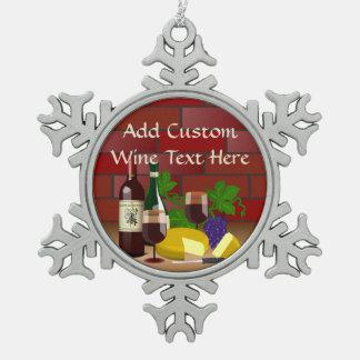 ワインのチーズ台所場面 スノーフレークピューターオーナメント