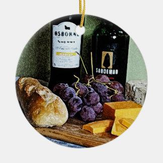 ワインのパンのチーズおよびブドウの静物画 セラミックオーナメント