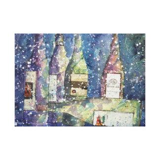 ワインのパーティーの水彩画の後 キャンバスプリント