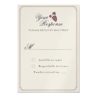 ワインのブドウ園のモダンなヴィンテージRSVPカード カード