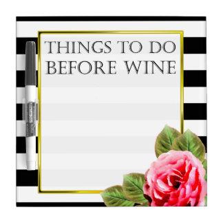 ワインの前にするべきおもしろいな事 ホワイトボード