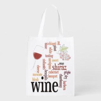 ワインの単語の雲のデザインの再使用可能なトート エコバッグ