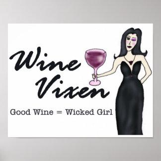 ワインの口やかましい女の悪賢い女の子ポスター ポスター