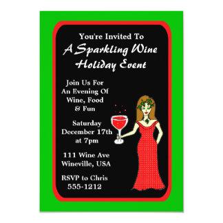 ワインの女神のスパークリングワインの休日のイベント カード