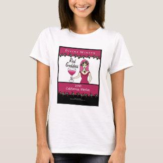 ワインの女神の赤い女神の模造のなワインのラベルポスター Tシャツ