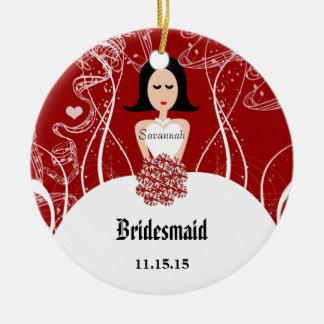 ワインの婚礼衣裳の新婦付添人のクリスマスのオーナメント セラミックオーナメント