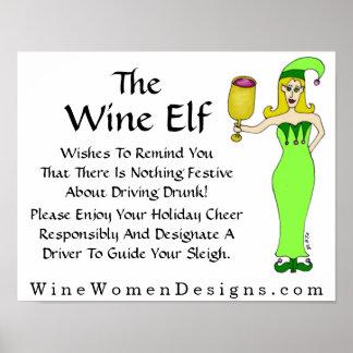 ワインの小妖精や小人からの重要なメッセージ プリント
