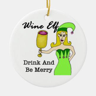 """ワインの小妖精や小人""""飲み物であり、メリー""""は セラミックオーナメント"""
