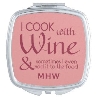 ワインの引用文のカスタムなモノグラムのポケット鏡