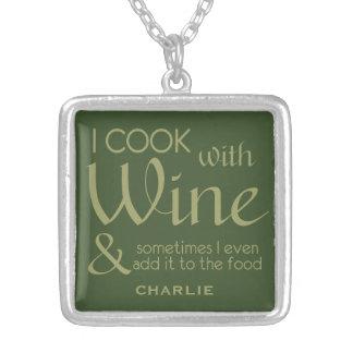 ワインの引用文の名前をカスタムするのネックレス シルバープレートネックレス