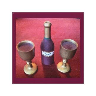 ワインの時間お洒落なワイン・ボトルおよびゴブレット キャンバスプリント