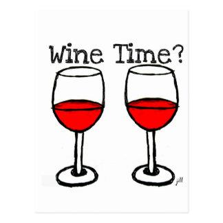 """""""ワインの時間か。""""赤ワインガラスのプリント ポストカード"""