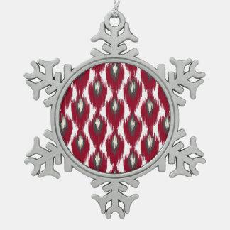 ワインの灰色の抽象芸術の種族のイカットのダイヤモンドパターン スノーフレークピューターオーナメント