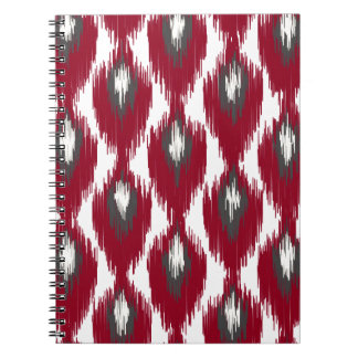 ワインの灰色の抽象芸術の種族のイカットのダイヤモンドパターン ノートブック