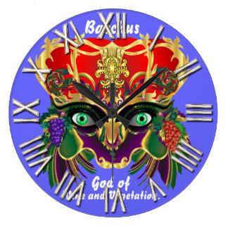 ワインの眺めの謝肉祭のバッカスの神は注意します ラージ壁時計