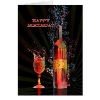 ワインの第31バースデー・カードをはねかけること カード