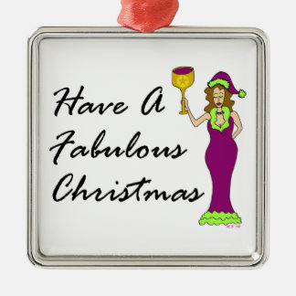 ワインの花型女性歌手のすばらしいクリスマス メタルオーナメント