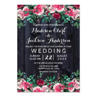 ワインの赤面及び海軍木製のバーガンディの結婚式招待状 12.7 X 17.8 インビテーションカード