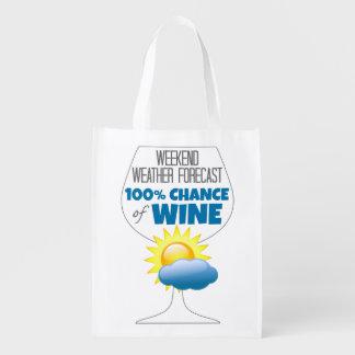 ワインの週末の天気予報明るい100%のチャンス エコバッグ