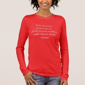 ワインはより強い今でも強い…女性です 長袖Tシャツ