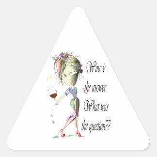 ワインは答えです-質問は何でしたか。か。 三角形シール