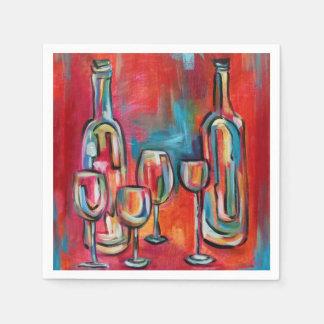ワイングラスおよびボトル スタンダードカクテルナプキン