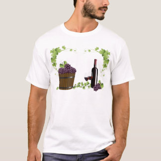 ワイングラスおよびワインバレル Tシャツ