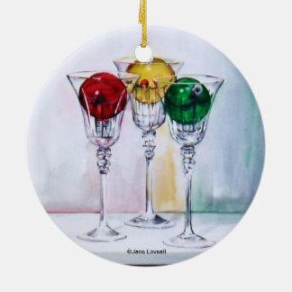 ワイングラスのオーナメントのクリスマスオーナメント セラミックオーナメント