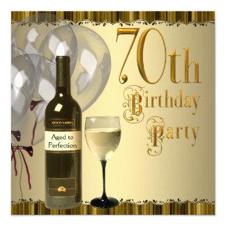 ワイングラスのボトルの金ゴールドの第70誕生会 カード