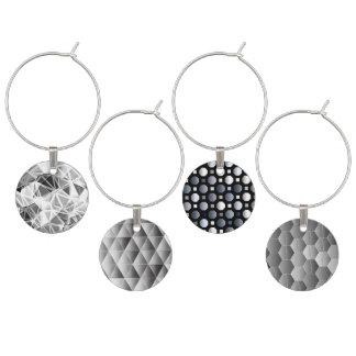ワインチャームのコレクション-モダンな灰色、銀製のデザイン ワインチャーム