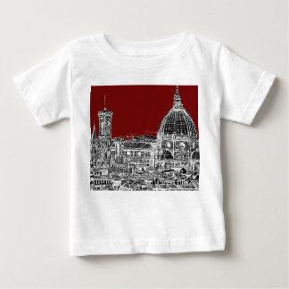 ワインレッドのフィレンツェのドーム ベビーTシャツ