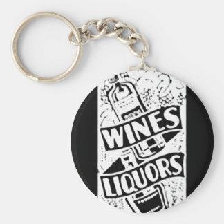 ワイン及びアルコール飲料のレトロのスタイル広告 ベーシック丸型缶キーホルダー