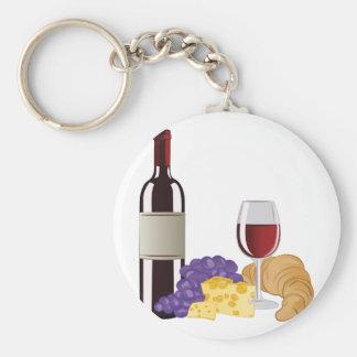 ワイン及びチーズ ベーシック丸型缶キーホルダー