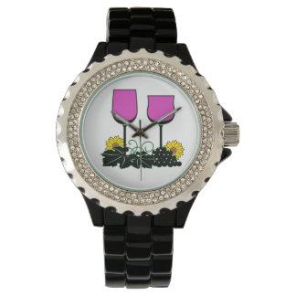 ワイン及びヒマワリ 腕時計