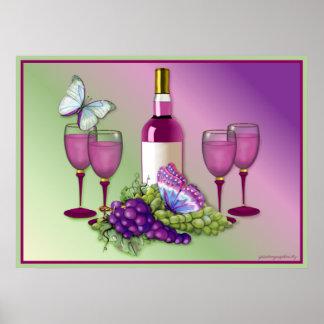 ワイン及びブドウのトースト2 ポスター