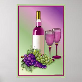 ワイン及びブドウのトースト ポスター