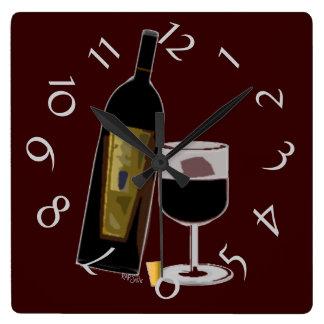 ワイン(バーガンディ)のボトル スクエア壁時計