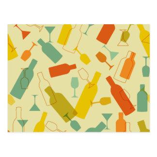 ワイン・ボトルおよびガラスのデザイン ポストカード