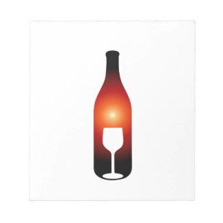 ワイン・ボトルおよびガラス ノートパッド