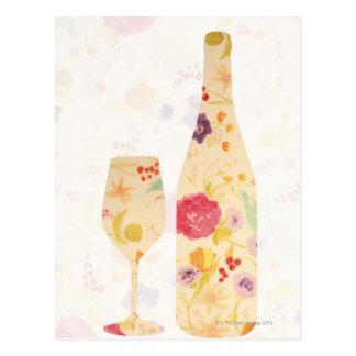 ワイン・ボトルおよびガラス ポストカード