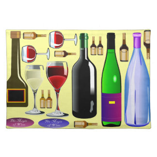 ワイン・ボトルおよびガラス ランチョンマット