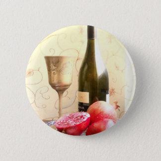 ワイン・ボトルおよびザクロ 5.7CM 丸型バッジ