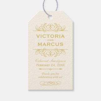 ワイン・ボトルのモノグラムのメッセージカードを結婚する金ゴールド ギフトタグ