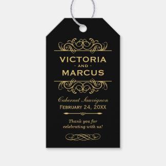 ワイン・ボトルのモノグラムの好意を結婚する黒および金ゴールド ギフトタグ