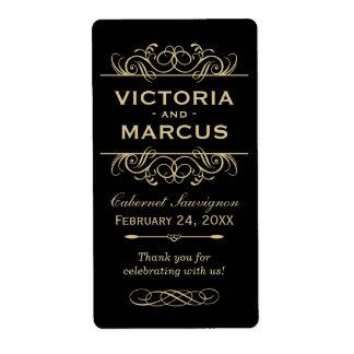 ワイン・ボトルのモノグラムの好意を結婚する黒および金ゴールド 発送ラベル