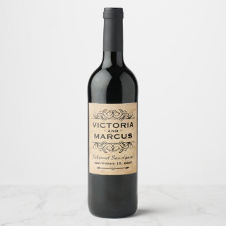 ワイン・ボトルの好意を結婚するヴィンテージ ワインラベル